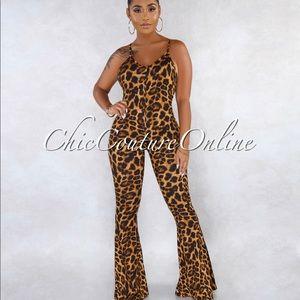 Leopard flare bottom jumpsuit